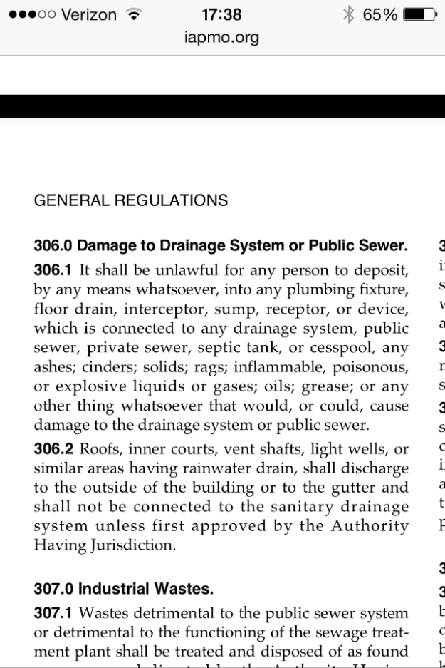The Oregon Plumbing Specialty Code addresses this issue: (Oregon plumbing specialty code chapter 3 - 306.1)