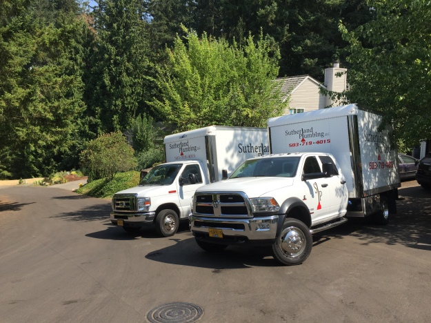 Two State-of-the-art Sutherland Plumbing trucks, fully stocked & ready for all of your plumbing needs.