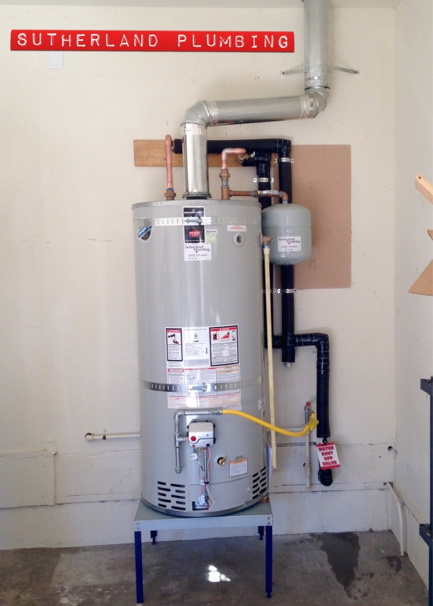 Recent installation of a 75 Gallon Natural Gas Water Heater.